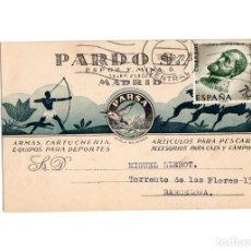Postales: MADRID.- PUBLICITARIA.- PARDO S.A. PARSA. ARMAS Y CARTUCHERIA. DEPORTES. ESPOZ Y MINA 6.. Lote 183507347