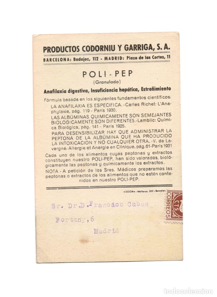 Postales: MADRID.- PUBLICIDAD.- POLI-PEP. GRANULADO. CODORNIU Y GARRIGA. S.A. - Foto 2 - 183547027