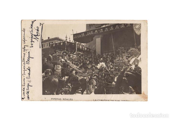 MADRID.- FIESTAS REALES. LA COMITIVA EN SAN JERÓNIMO. POSTAL FOTOGRÁFICA. (Postales - España - Comunidad de Madrid Antigua (hasta 1939))