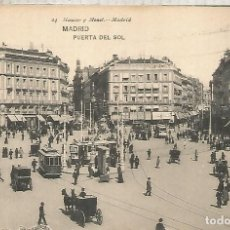Postales: MADRID PUERTA DEL SOL Y TRANVIA TRAMWAY SIN ESCRIBIR. Lote 183582562