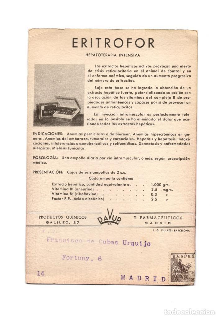 Postales: MADRID.- PUBLICIDAD.- ERITROFOR. MEDICAMENTO. FARMACIA. HEPATOTERAPIA INTENSIVA. - Foto 2 - 183742256