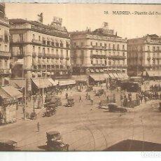 Postales: MADRID PUERTA DEL SOL Y TRANVIA TRAMWAY SIN ESCRIBIR. Lote 184204785