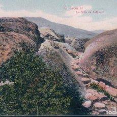 Postales: POSTAL EL ESCORIAL - LA SILLA DE FELIPE II - HOTEL MIRANDA - FOT MORENO. Lote 185723703