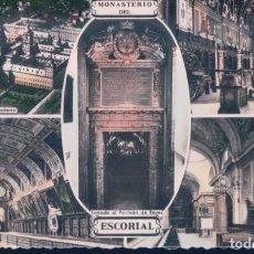 Postales: POSTAL RECUERDO DEL MONASTERIO DEL ESCORIAL - 5 VISTAS - ARRIBAS. Lote 185896966