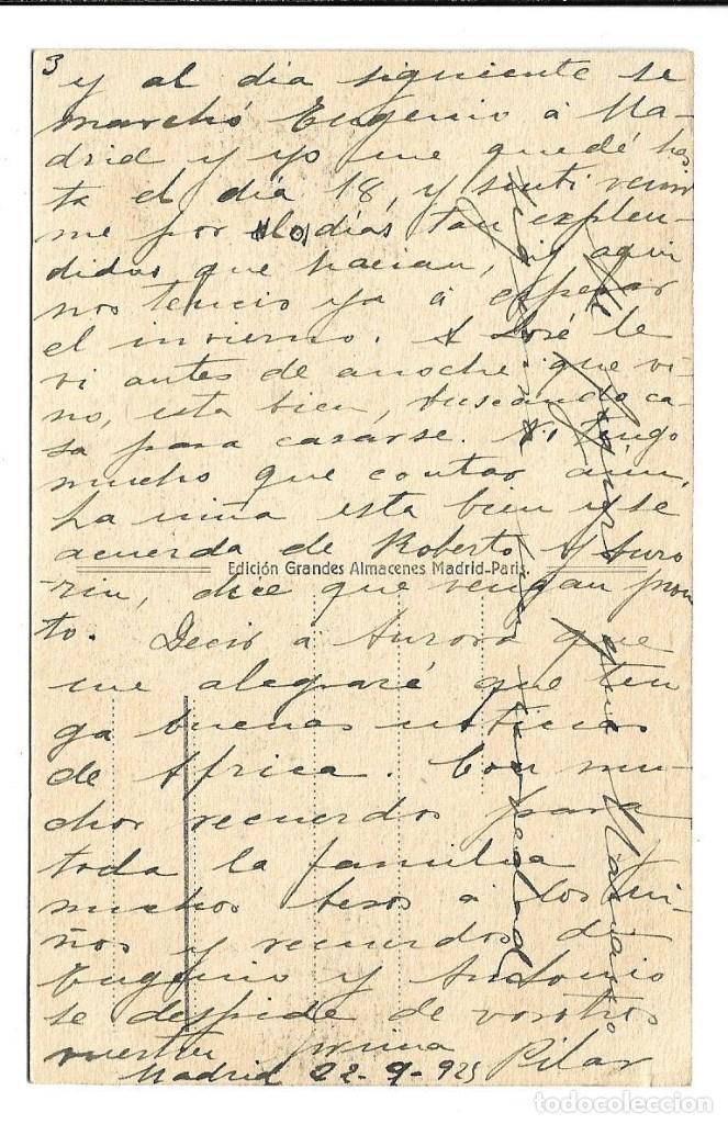 Postales: A100- 3 POSTALES DE MADRID ESCRITAS CON UNA CARTA AL DORSO DE LAS TRES DE CALATAYUD EL 22- 9-1.923 - Foto 6 - 191960452