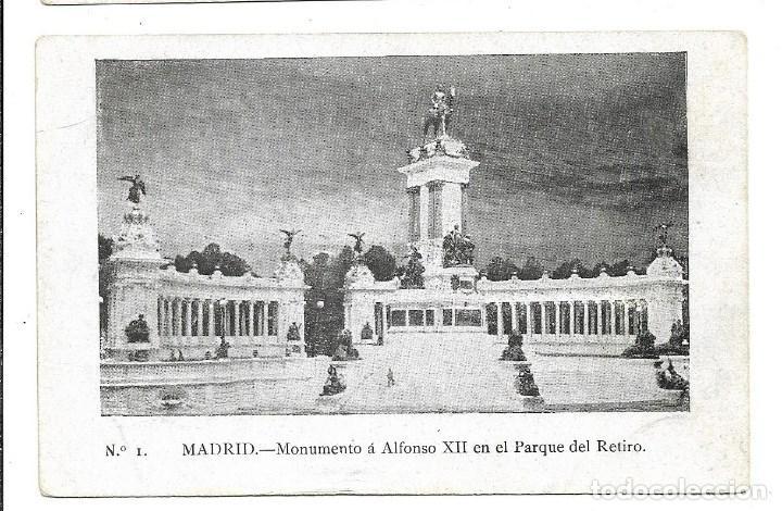 A100- MADRID - POSTAL ANTIGUA - ALFONSO XII PARQUE RETIRO Nº 1 - - SIN CIRCULAR SIN DIVIDIR (Postales - España - Comunidad de Madrid Antigua (hasta 1939))
