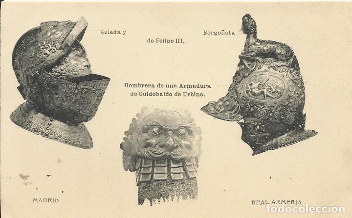 HAUSER Y MENET. CELADA Y BORGOÑOTA DE FELIPE III. REAL ARMERÍA. ARMAS. (Postales - España - Comunidad de Madrid Antigua (hasta 1939))