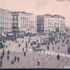 Postales: POSTAL MADRID - PUERTA DEL SOL - CIRCULADA SELLO ALFONSO XIII - ANIMADA - CARRUAJES. Lote 193573853