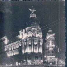 Postales: POSTAL MADRID - EDIFICIO DE LA UNION Y EL FENIX ESPAÑOL ILUMINADO - GARRABELLA. Lote 193882496