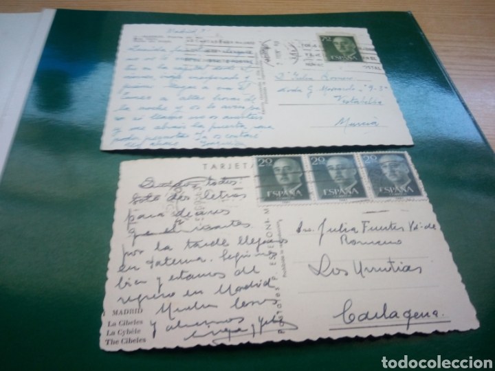 Postales: Dos antiguas postales de Madrid. Años 60. Cibeles y Puerta del Sol - Foto 2 - 194198113