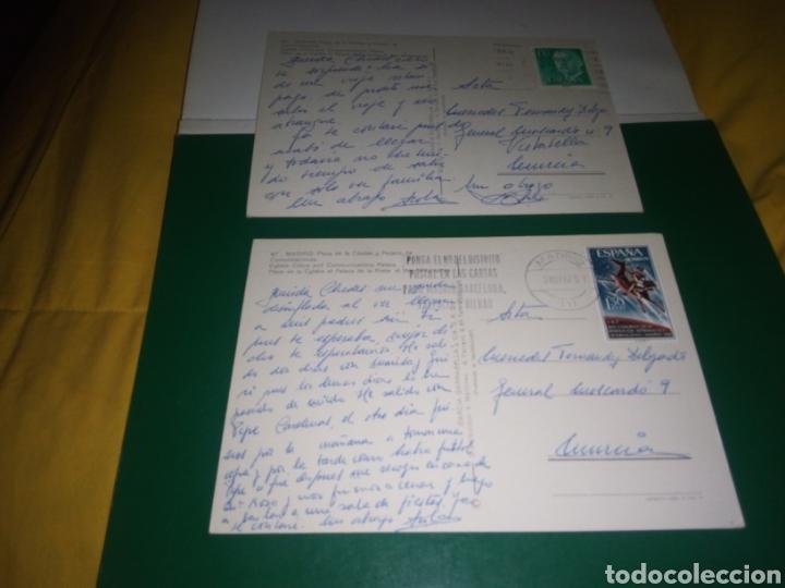 Postales: Dos antiguas postales de Madrid. Plaza de Cibeles y Palacio de Comunicaciones. Años 60 - Foto 2 - 194234396