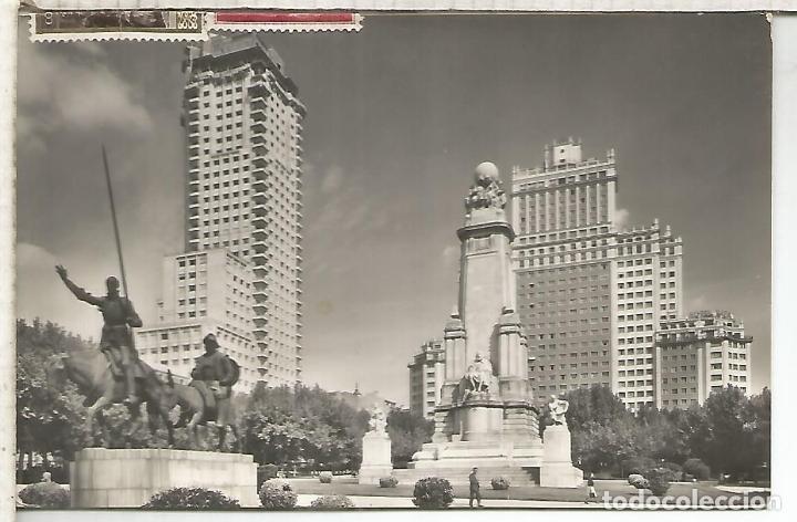 MADRID MONUMENTO A DON QUIJOTE ESCRITA (Postales - España - Comunidad de Madrid Antigua (hasta 1939))