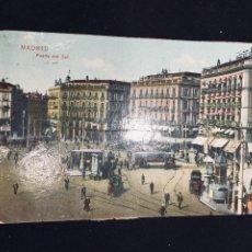 Postales: POSTAL COLOREADA MADRID PUERTA DEL SOL TRASERA RASGADA. Lote 194337515