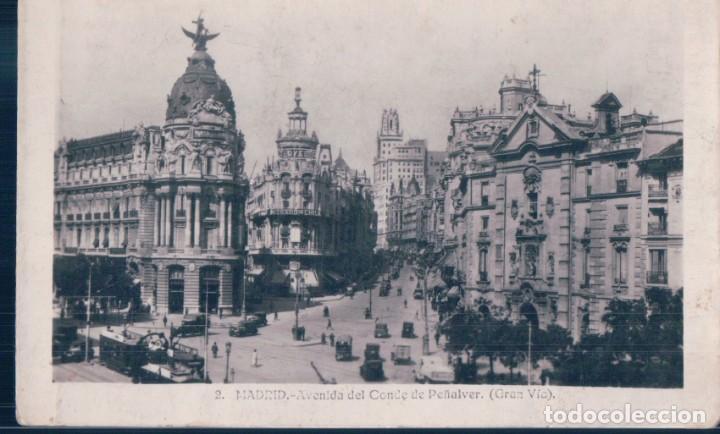 POSTAL MADRID - AVENIDA DEL CONDE DE PEÑALVER - GRAN VIA - CIRCULADA SELLO ALFONSO XIII (Postales - España - Comunidad de Madrid Antigua (hasta 1939))
