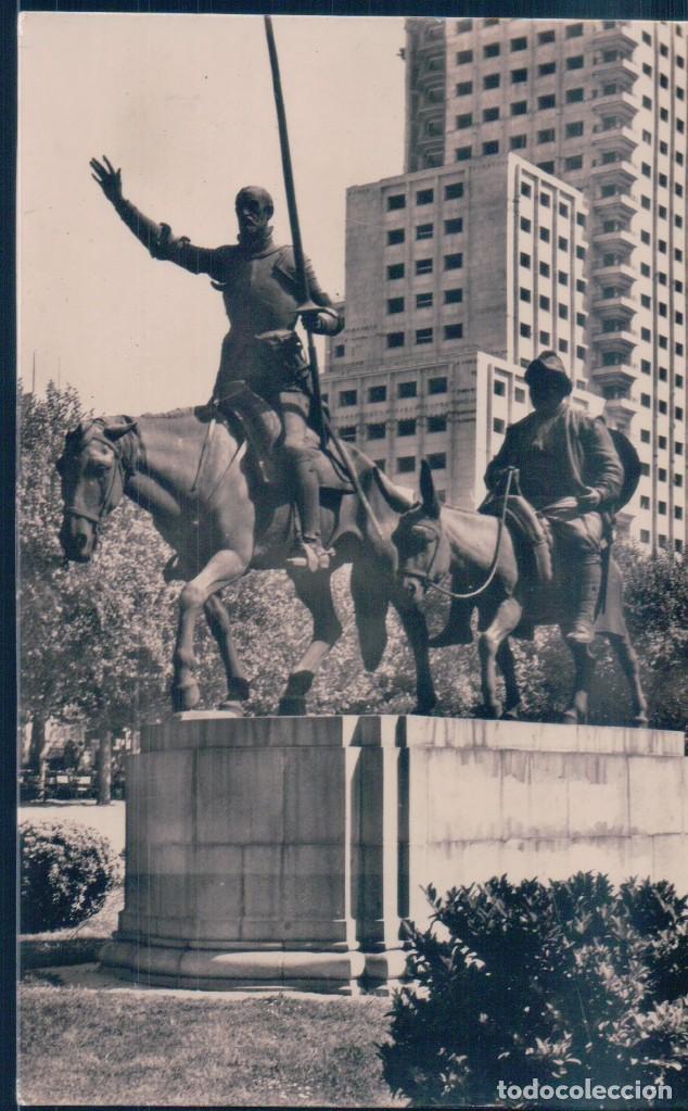 POSTAL MADRID - MONUMENTO A CERVANTES - H A E - DON QUIJOTE Y SANCHO PANZA (Postales - España - Comunidad de Madrid Antigua (hasta 1939))