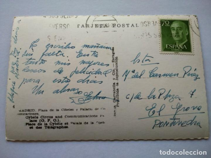 Postales: POSTAL -- MADRID - PLAZA DE CIBELES Y PALACIO DE COMUNICACIONES -- CIRCULADA -- - Foto 2 - 194862992