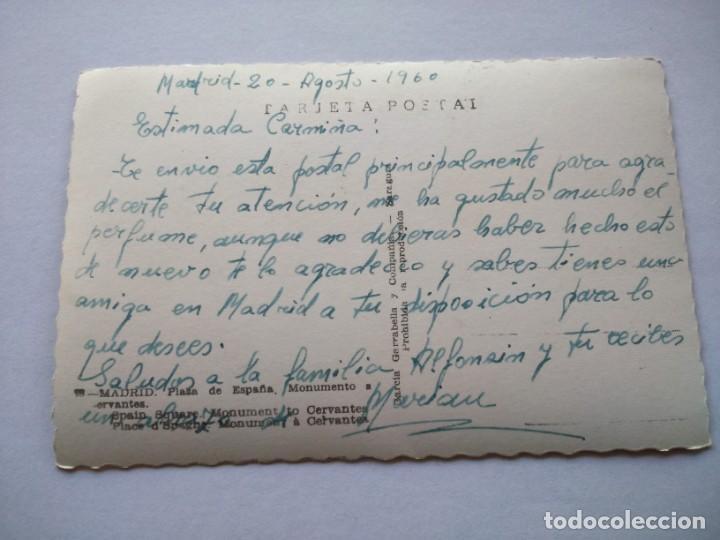 Postales: POSTAL -- MADRID - PLAZA DE ESPAÑA Y MONUMENTO A CERVANTES -- ESCRITA -- - Foto 2 - 194863086