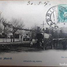Postales: POSTAL MADRID, ESTACION DEL NORTE. FOTOTIPIA LACOSTE. AÑO 1907. Lote 195186795