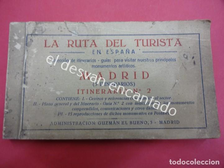 MADRID. BLOC POSTALES CON MAPA DESPLEGABLE. LA RUTA DEL TURISTA (Postales - España - Comunidad de Madrid Antigua (hasta 1939))
