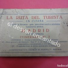 Postales: MADRID. BLOC POSTALES CON MAPA DESPLEGABLE. LA RUTA DEL TURISTA. Lote 195277812
