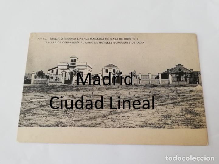 POSTAL DE MADRID. CIUDAD LINEAL. N. 52. MANZANA 90. CASA DE OBRERO Y TALLER DE CERRAJERIA AL LADO DE (Postales - España - Comunidad de Madrid Antigua (hasta 1939))