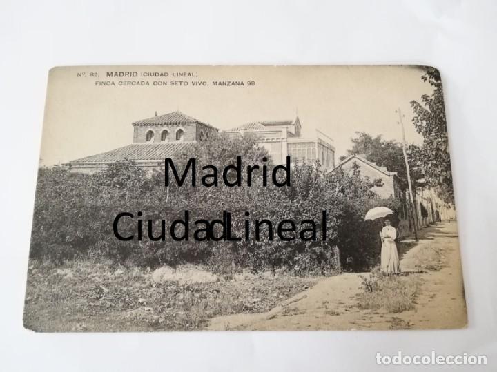POSTAL DE MADRID. CIUDAD LINEAL. N. 82. FINCA CERCADA CON SETO VIVO. MANZANA 98. ED. HAUSER Y MENET. (Postales - España - Comunidad de Madrid Antigua (hasta 1939))