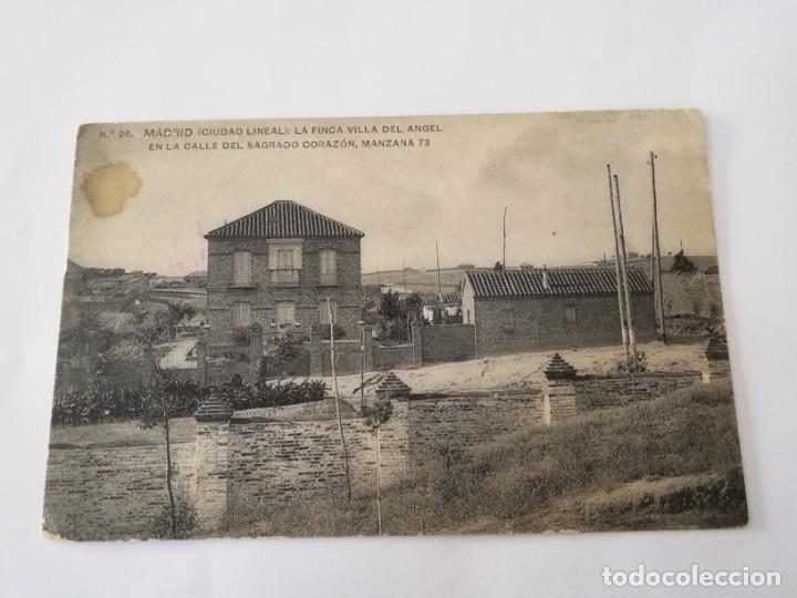 POSTAL DE MADRID. CIUDAD LINEAL. N. 28. LA FINCA VILLA DEL ANGEL EN LA CALLE DEL SAGRADO CORAZON, MA (Postales - España - Comunidad de Madrid Antigua (hasta 1939))