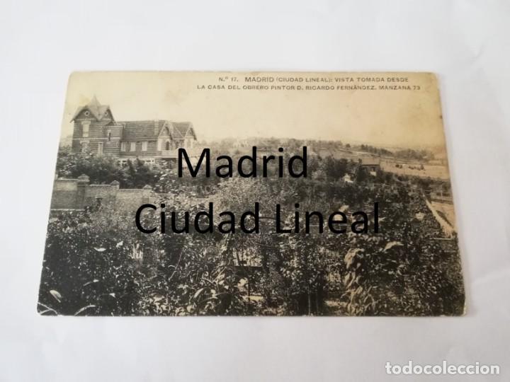 POSTAL DE MADRID. CIUDAD LINEAL. N. 17. VISTA TOMADA DESDE LA CASA DEL OBRERO PINTOR D. RICARDO FERN (Postales - España - Comunidad de Madrid Antigua (hasta 1939))