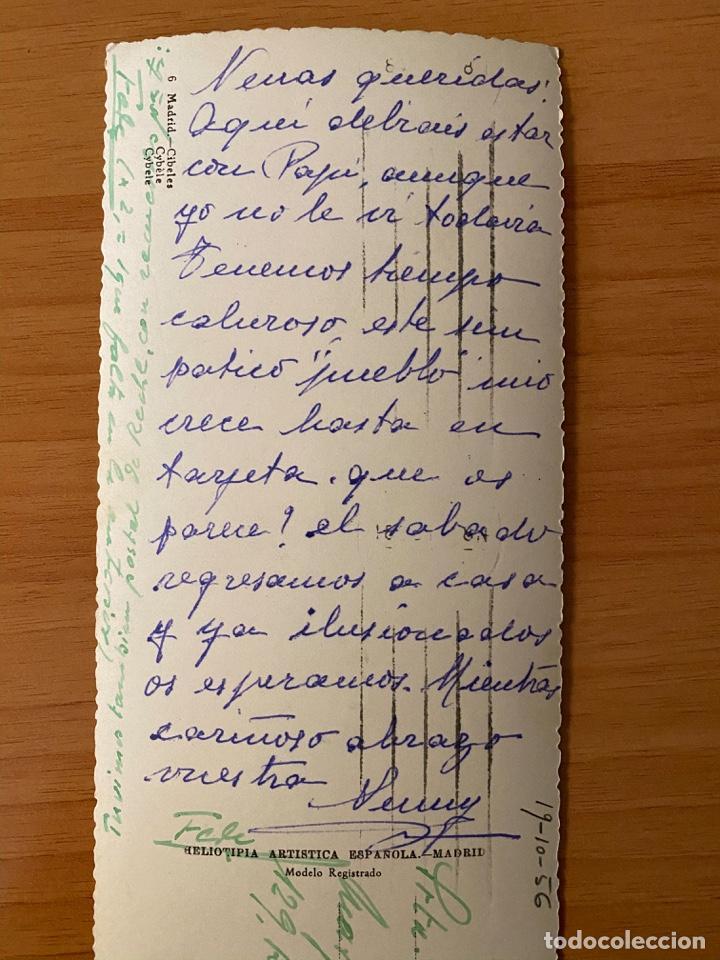 Postales: Postal panorámica Fuente de la Cibeles - Madrid - 1956 - Foto 3 - 195357883