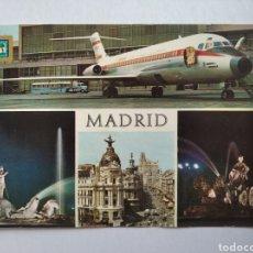 Postales: POSTAL 61 MADRID AEROPUERTO DE BARAJAS FUENTE DE NEPTUNO CALLE ALCALÁ DOMINGUEZ. Lote 195460952