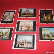 Postales: SIETE TARJETAS ENMARCADAS REPRODUCIDO DE OLEO ORIGINAL DEL MAESTRO PALMERO. Lote 196386085