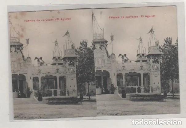 FÁBRICA DE CERVEZA EL AGUILA. POSTAL ESTEREOSCÓPICA, HECHA DE MANERA ARTESANAL. MADRID. (Postales - España - Comunidad de Madrid Antigua (hasta 1939))