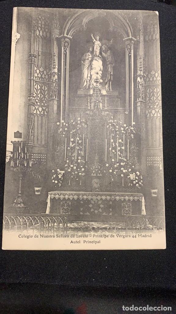 POSTAL INTERIOR CAPILLA PRINCIPAL COLEGIO NUESTRA SEÑORA DE LORETO PRÍNCIPE DE VERGARA MADRID S XX (Postales - España - Comunidad de Madrid Antigua (hasta 1939))
