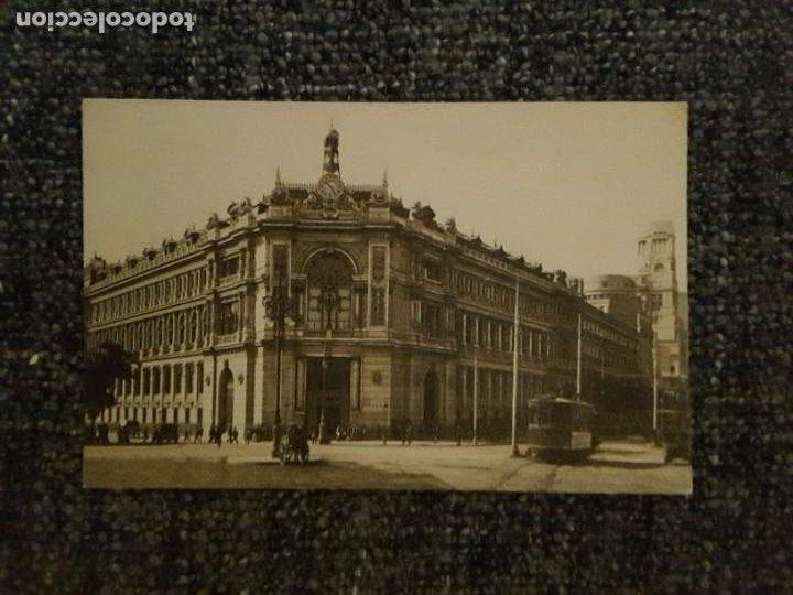 POSTAL MADRID BANCO DE ESPAÑA M PALOMEQUE TRANVÍA GENTE PERSONAS (Postales - España - Comunidad de Madrid Antigua (hasta 1939))