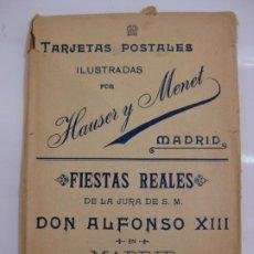 Postales: FIESTAS REALES, DON ALFONSO XIII - HAUSER Y MENET - 1902 COLECCION COMPLETA. Lote 199838590