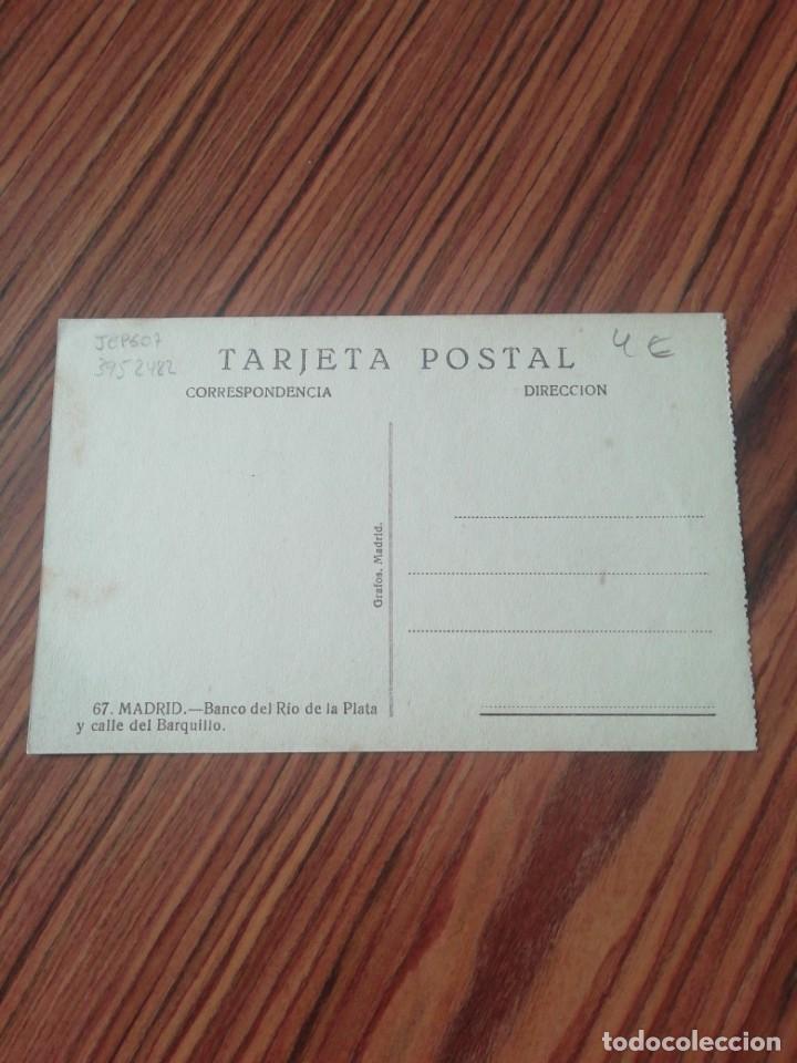 Postales: Postal Madrid. Banco de la Plata y Callé del Barquillo. Grafos Madrid. SC - Foto 2 - 200360408