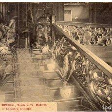 Postales: BONITA POSTAL - MADRID - GRAN HOTEL IMPERIAL - ESCALERA PRINCIPAL - MONTERA, 22. Lote 204450693