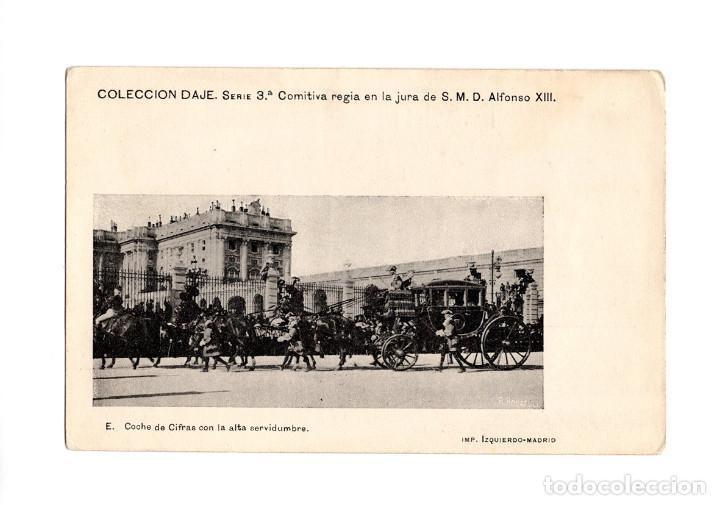 MADRID.- COMITIVA REGIA JURA DE ALFONSO XIII. COCHE DE CIFRA CON ALTA SERVIDUMBRE. COLECCIÓN DAJE. (Postales - España - Comunidad de Madrid Antigua (hasta 1939))
