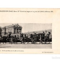 Postales: MADRID.- COMITIVA REGIA JURA DE ALFONSO XIII. COCHE DE CIFRA CON ALTA SERVIDUMBRE. COLECCIÓN DAJE.. Lote 232670685
