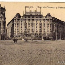 Postales: BONITA POSTAL - MADRID - PLAZA DE CANOVAS Y PALACE HOTEL - J. ROIG. Lote 205545475