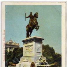 Postales: PRECIOSA POSTAL - MADRID - ESTATUA ECUESTRE DE FELIPE IV - PLAZA DE ORIENTE. Lote 205570602