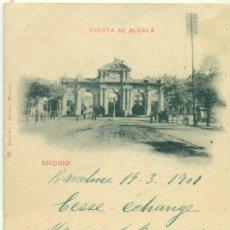 Postales: MADRID PUERTA DE ALCALA HAUSER Y MENET. CIRCULADA EN 1901 POR MANUEL BASSONS 4 SELLOS.. Lote 206585272