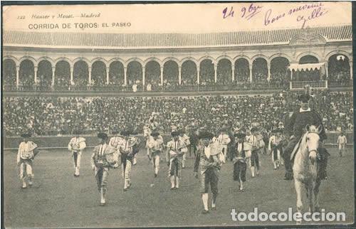 POSTAL PUBLICITARIA HOTEL PENINSULAR MADRID CORRIDA EL PASEO ED. HAUSER Y MENET N° 122 (Postales - España - Comunidad de Madrid Antigua (hasta 1939))