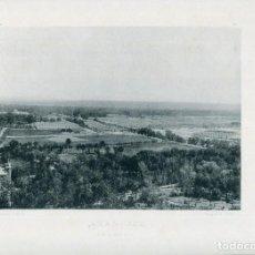 Postales: LÁMINA ARANJUEZ VISTA GENERAL--HAUSER Y MENET- 24X30 AÑO 1891- RARA. Lote 210538572