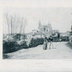 Postales: LÁMINA-LEÓN VISTA DESDE CALLE SAN PEDRO -HAUSER Y MENET- 24X30 AÑO 1891- RARA. Lote 210576491