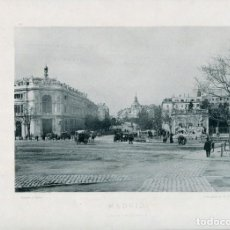 Postales: LÁMINA-MADRID CALLE ALCALÁ-CIBELES Y BANCO DE ESPAÑA-HAUSER Y MENET- 24X30 AÑO 1891- RARA. Lote 210621841