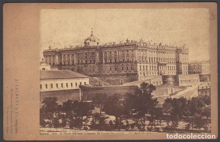 FOTO DE MADRID Nº1016 EL PALACIO REAL DESDE LA MONTAÑA DEL PRINCIPE PIO. J. LAURENT ALBUMINA (Postales - España - Comunidad de Madrid Antigua (hasta 1939))