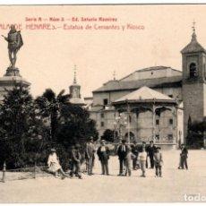 Postales: MAGNIFICA POSTAL - ALCALA DE HENARES (MADRID) - ESTATUA DE CERVANTES Y KIOSCO - ED. SATURIO RAMIREZ. Lote 211638281