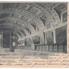 Postales: FANTÁSTICA POSTAL SACRISTÍA MONASTERIO DEL ESCORIAL MADRID ED M MORENO SIN DIVIDIR CIRCULADA 1903 PT. Lote 214972550