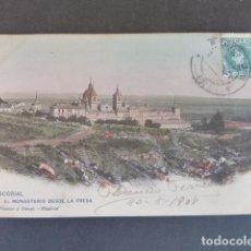 Postales: EL ESCORIAL MADRID EL MONASTERIO DESDE LA PRESA HAUSER Y MENET SIN DIVIDIR ILUMINADA. Lote 215979336